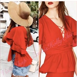 NWT ZARA Red V Neck Lace Up Blouse Top | Size S